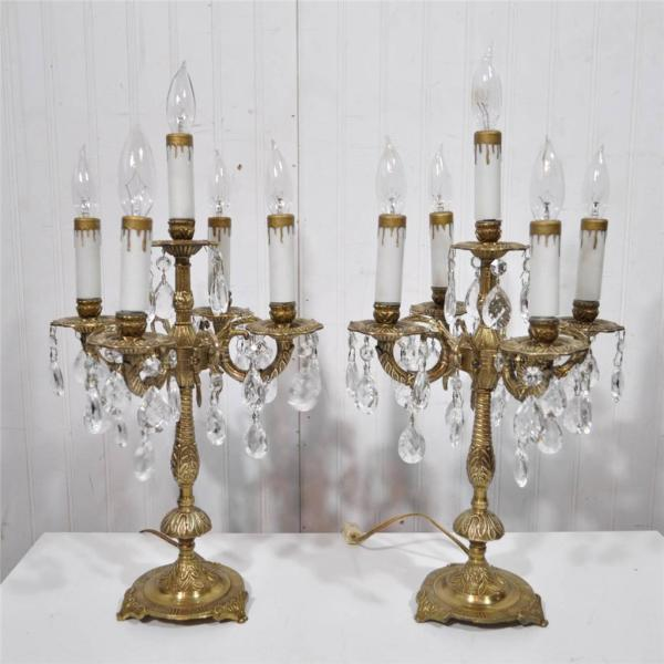 Pair Antique French Style Solid Brass Crystal Candelabra