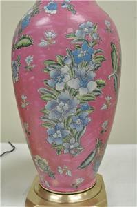 Pair of Vintage Oriental Heyward House Brass Ceramic Pink ...