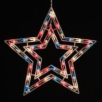 "HUGE 17"" July 4th Americana Star 50 Lights Window Decor | eBay"