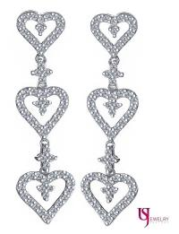 Heart Shape Tier Dangle Earrings Round Cut 1.15 Carat ...