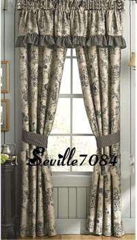 15p QUEEN Enchanted Toile Tan Black Comforter Set+Euros ...