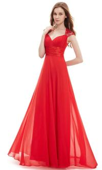 APHRODITE Scarlet Red Chiffon Sequin Maxi Prom Evening ...