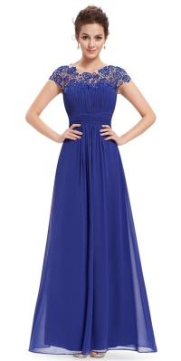 KATIE Cobalt Blue Lace Maxi Prom Evening Cruise Ballgown