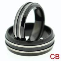 Black Titanium Matching Wedding Bands Promise Rings For ...