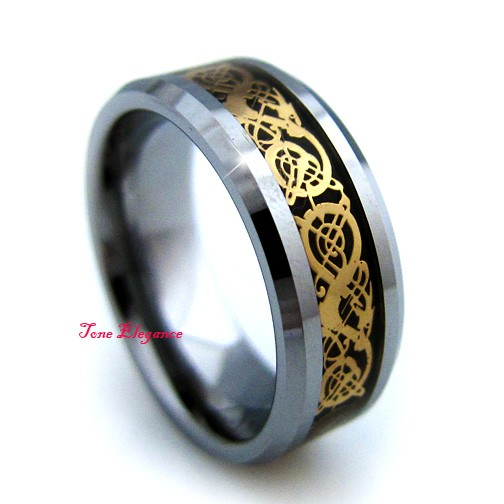 Band Gold Dragon 8mm Celtic Black Mens Wedding Inlay Ring Tungsten And