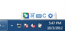 Google Input tools status window