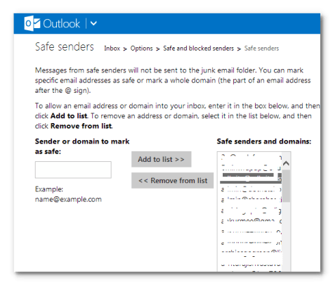 safe senders in outlook