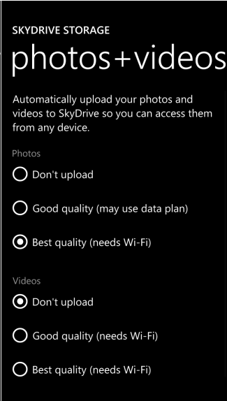 photos and videos save to skydrive