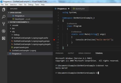 run c# .net core console application in vs code.