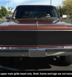 fits 81 87 chevy gmc pickup suburban blazer jimmy phantom black billet grille [ 1000 x 834 Pixel ]