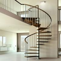 Customized Modern Spiral Staircase With Solid Wood Steps Indoor | Wood Steps For Sale | Yard | Temporary | Design | Travel Trailer | Camper