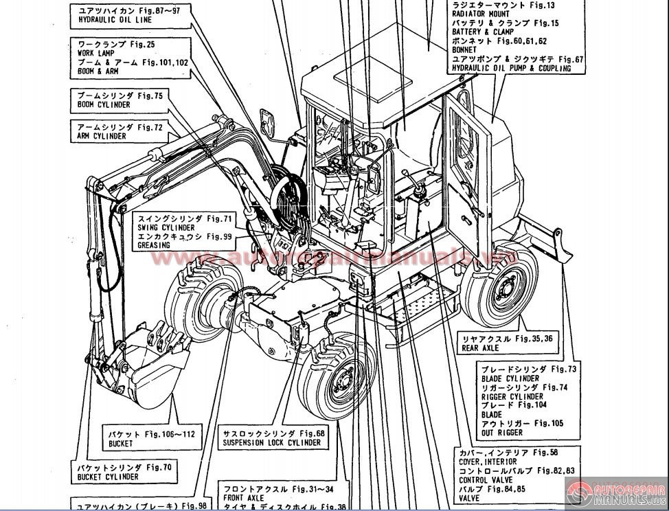 YANMAR Wheel Backhoe model YB401W and YB401W-2 Parts