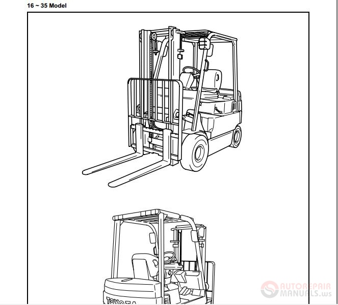 Toyota Electric Forklift Trucks 7FBMFF16-50 Service Manual