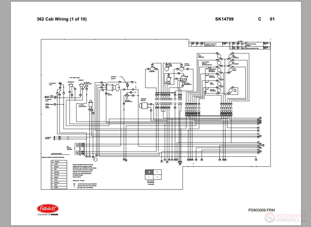 Peterbilt_-_PB362_Cab_Wiring_Schematic_SK14799  Peterbilt Wiring Schematic on 1990 western star wiring schematic, peterbilt heater schematic, peterbilt 379 fuse panel schematic, peterbilt 379 electrical schematic, 378 peterbilt schematic, peterbilt lights schematic,