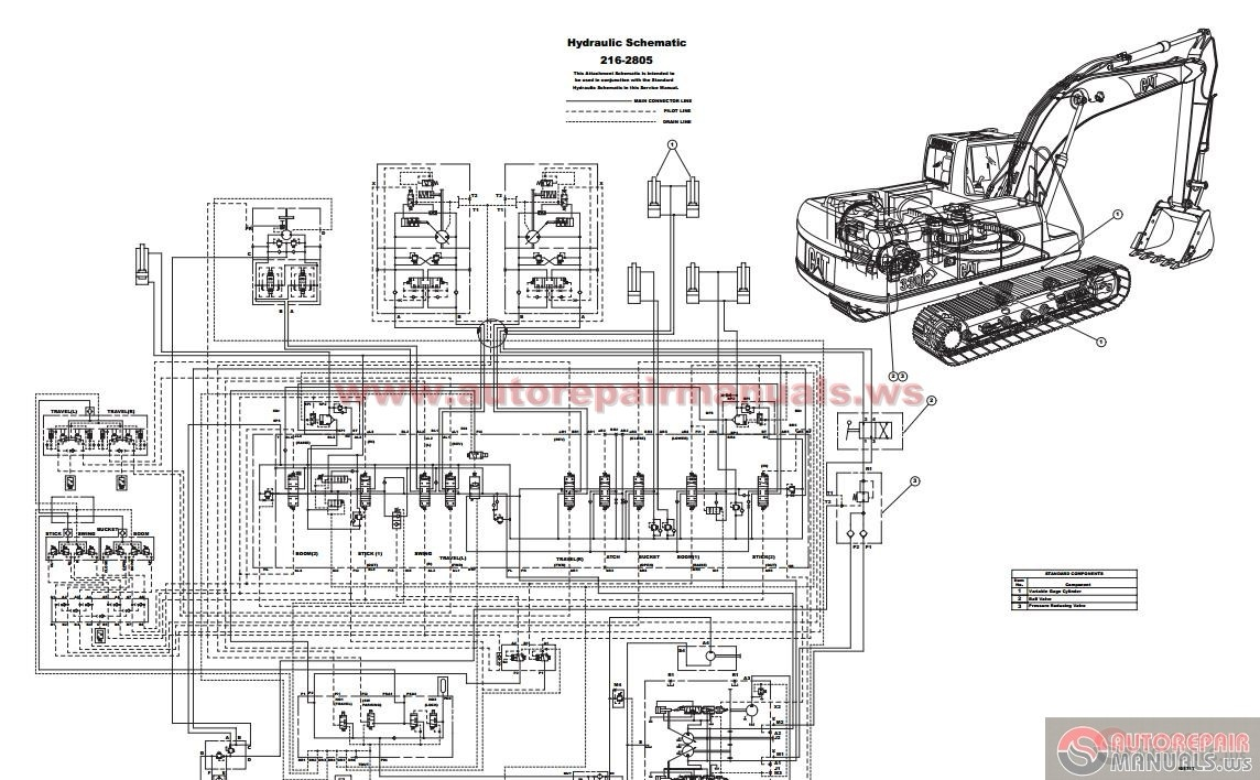 Caterpillar 330C Excavator Hydraulic Circuit Diagram