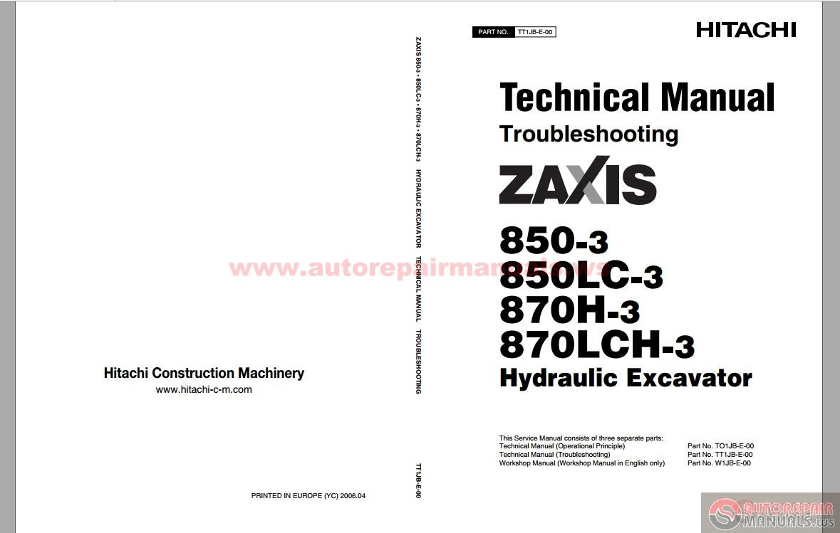 Hitachi Excavator Zaxis ZX870-3 Technical Manual
