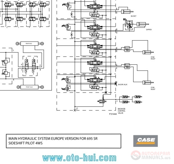 CASE Backhoe Loader Schematic for 580SR; 590SR; 695SR