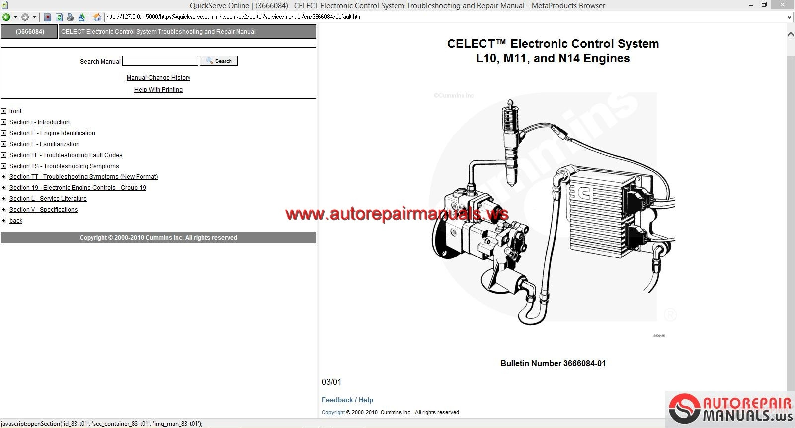 Keygen Autorepairmanuals.ws: Cummins CELECT Electronic