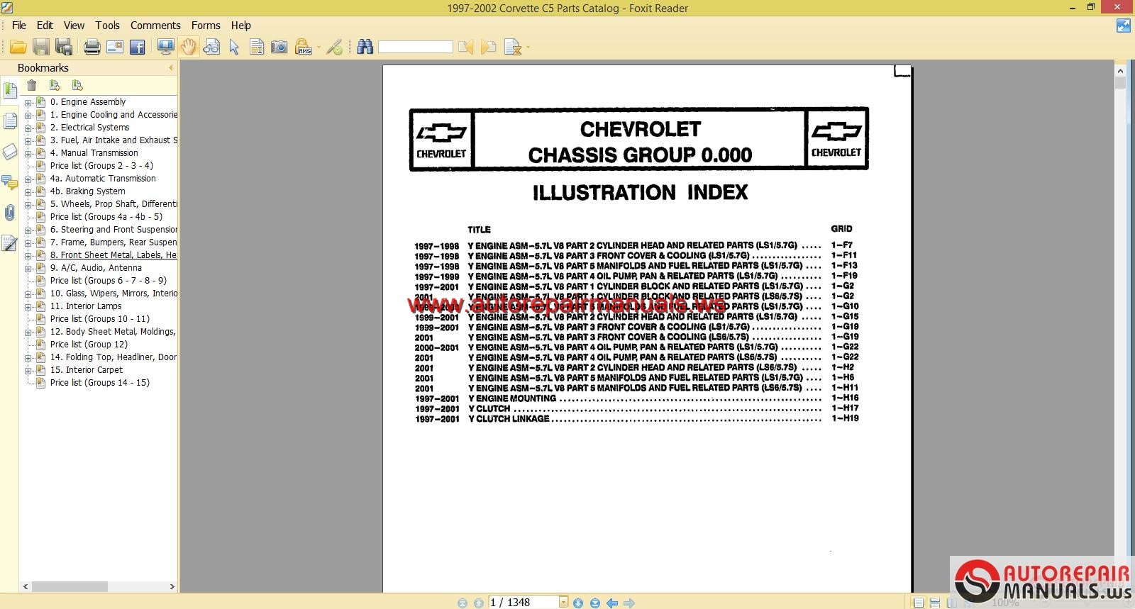 hight resolution of chevrolet corvette c5 5 7l 1997 2002 parts manual auto repair car tire parts diagram c5 parts diagram