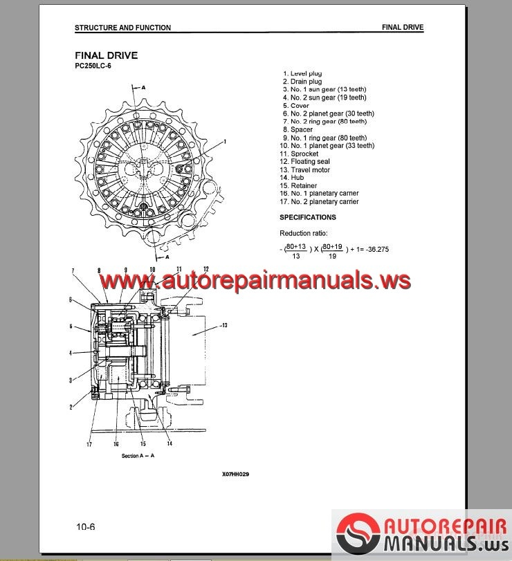 Komatsu Hydraulic Excavator PC200-250LC-6 Shop Manual