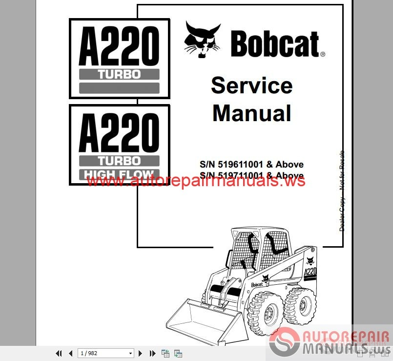 Auto Repair Manuals: Bobcat Service Manual