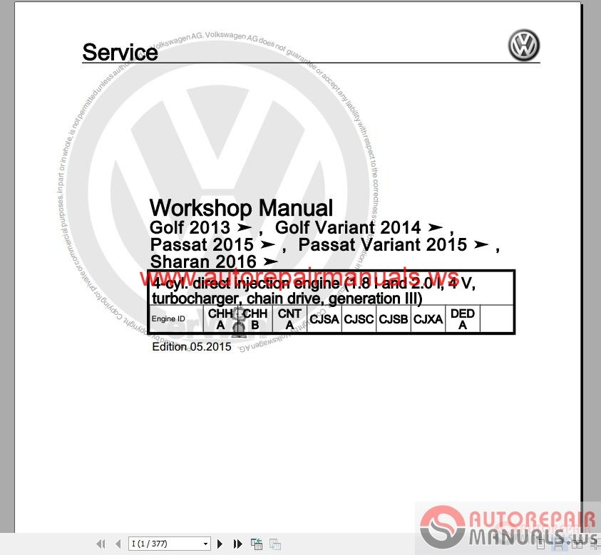 Auto Repair Manuals: Volkswagen Touran 2016 Workshop Manuals