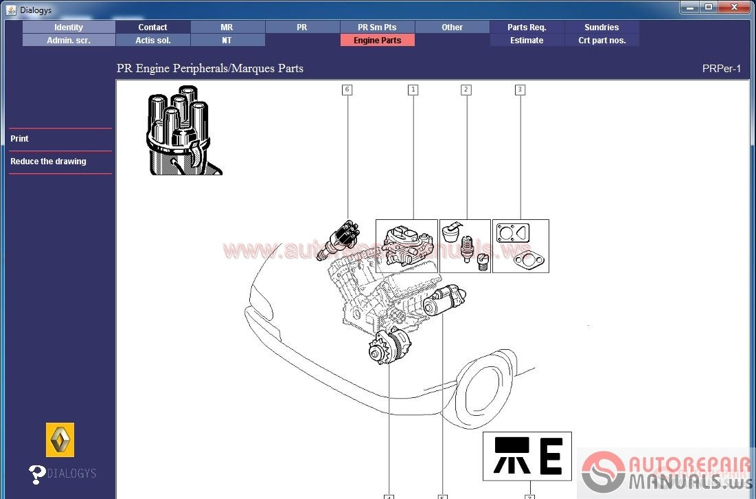 Renault Dialogys Electronic Spare Parts Catalog Renault Cars Workshop
