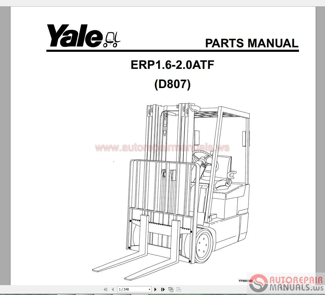 Auto Repair Manuals: Yale Forklift Spare Parts PDF Full Set
