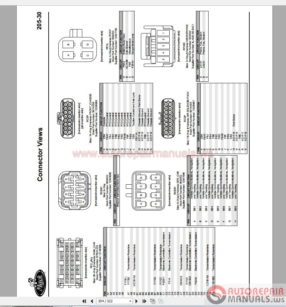 Mack Trucks 2010 Electrical Diagram and Connectors System