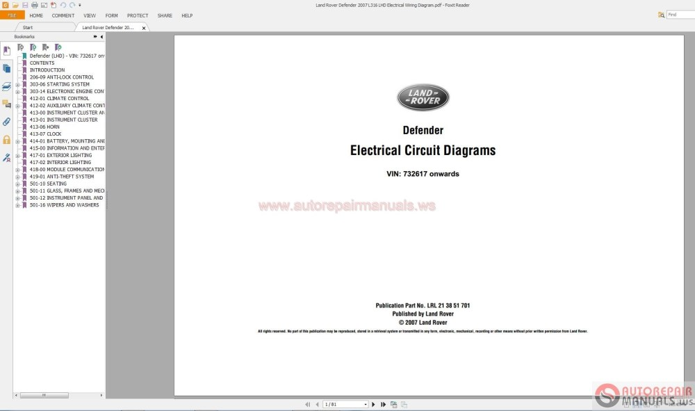 medium resolution of land rover defender 2007 l316 lhd electrical wiring diagram auto