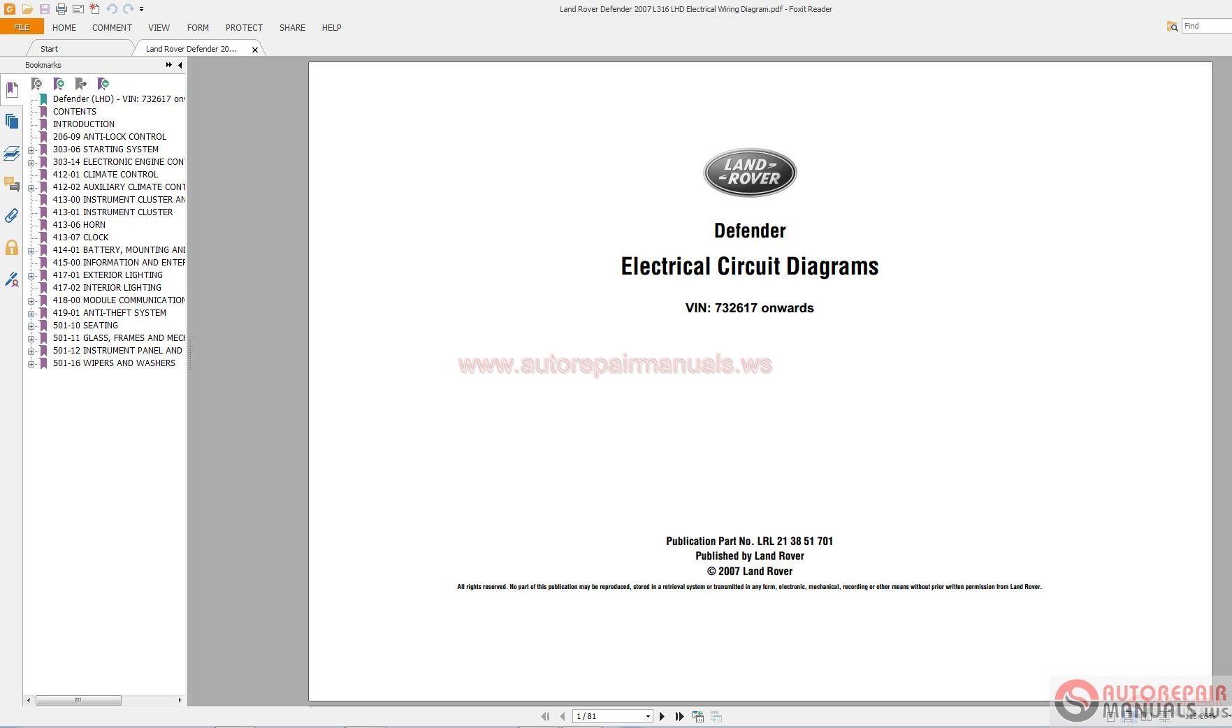 hight resolution of land rover defender 2007 l316 lhd electrical wiring diagram auto