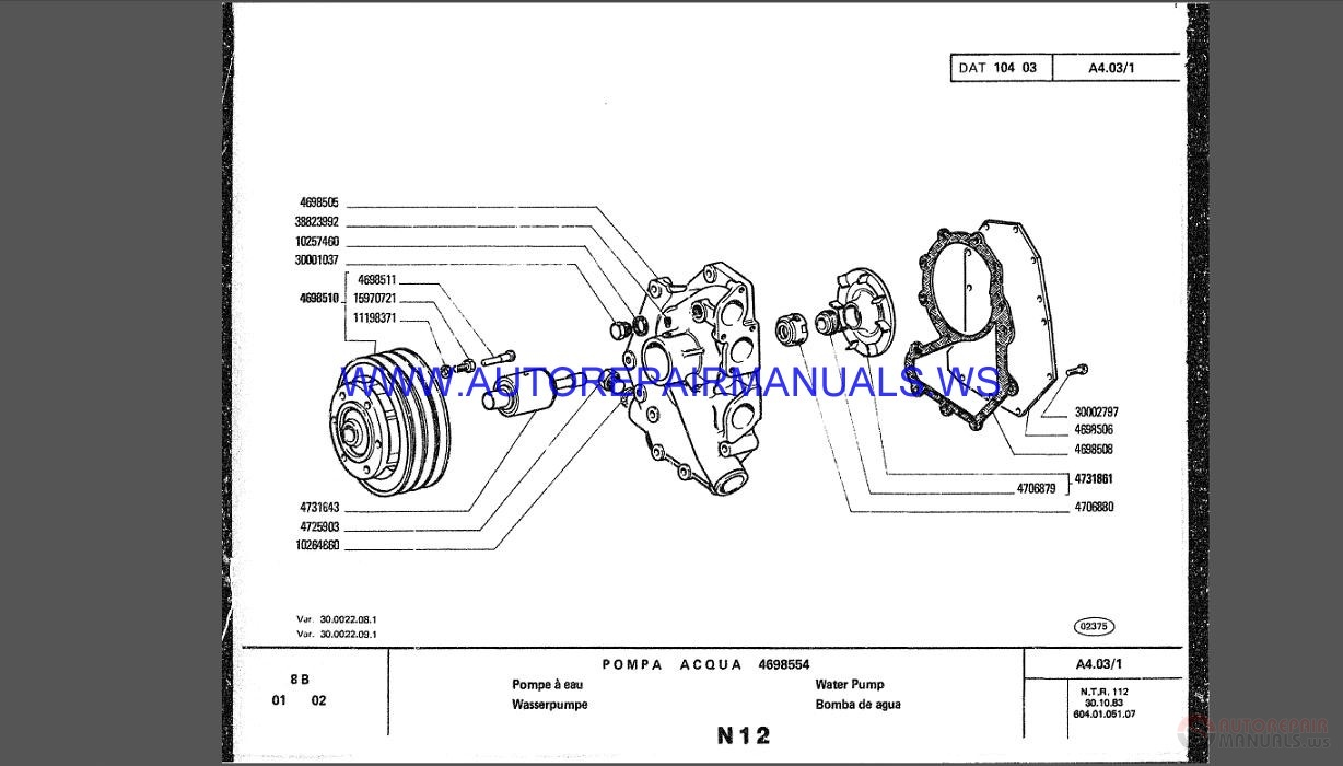 Fiat Allis Crawler dozer Full Set Parts Catalogo DVD