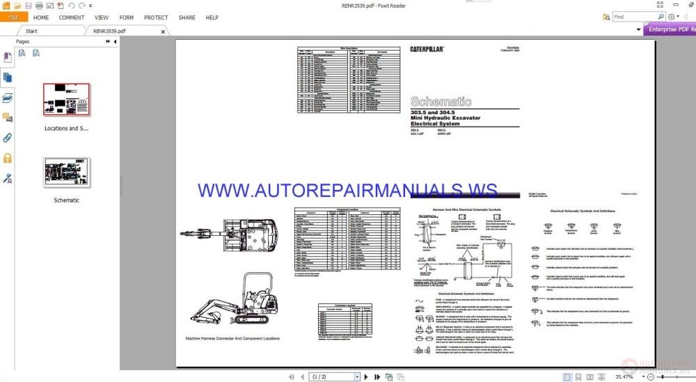 medium resolution of caterpillar 303 5 and 304 5 mini hydraulic excavator electricalexcavator schematics 21