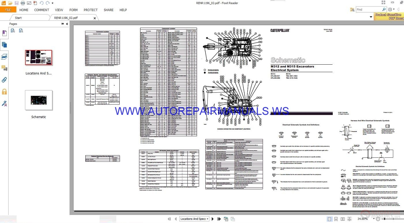 Caterpillar M312 and M315 Excavators Electrical Schematics