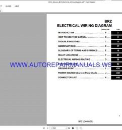 subaru brz electrical wiring diagram manual 2013 auto repair rh autorepairmanuals ws subaru forester wiring  [ 1378 x 772 Pixel ]