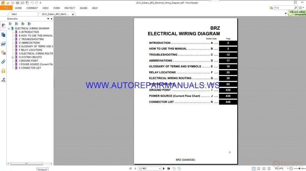 medium resolution of subaru brz electrical wiring diagram manual 2013 auto repair rh autorepairmanuals ws subaru forester wiring