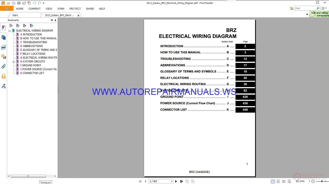 hight resolution of subaru brz electrical wiring diagram manual 2013 auto repair rh autorepairmanuals ws subaru forester wiring