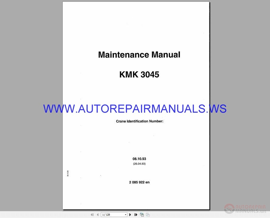 Auto Repair Manuals: Krupp Cranes KMK 3045 Maintenance