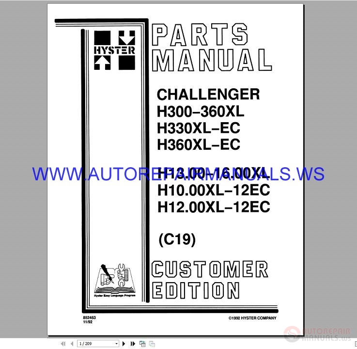 Hyster H300-360XL Challenger Forklifts Parts Manual 852453