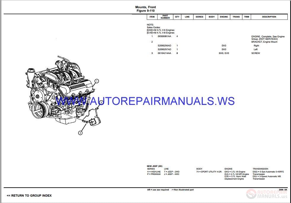 Chrysler Dodge COMMANDER XK Parts Catalog (Part 2) 2006