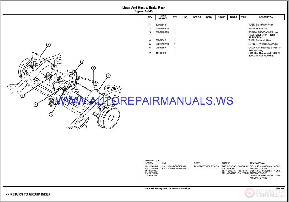 Chrysler Dodge DURANGO DN Parts Catalog (Part 2) 1998-1999