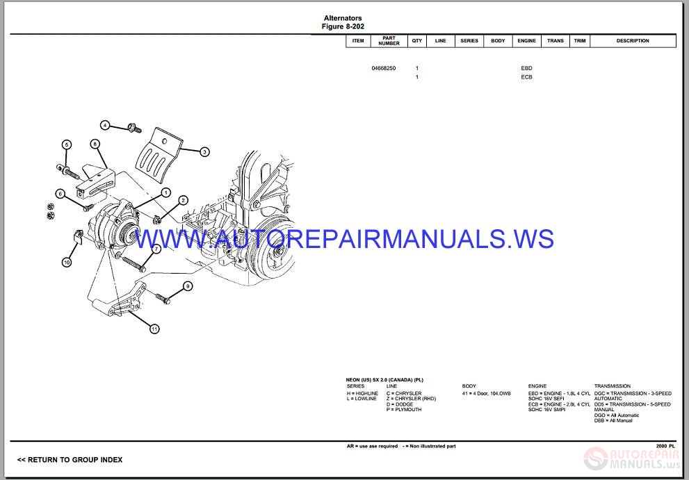 Chrysler Dodge NEON PL Parts Catalog (Part 2) 1997-2002