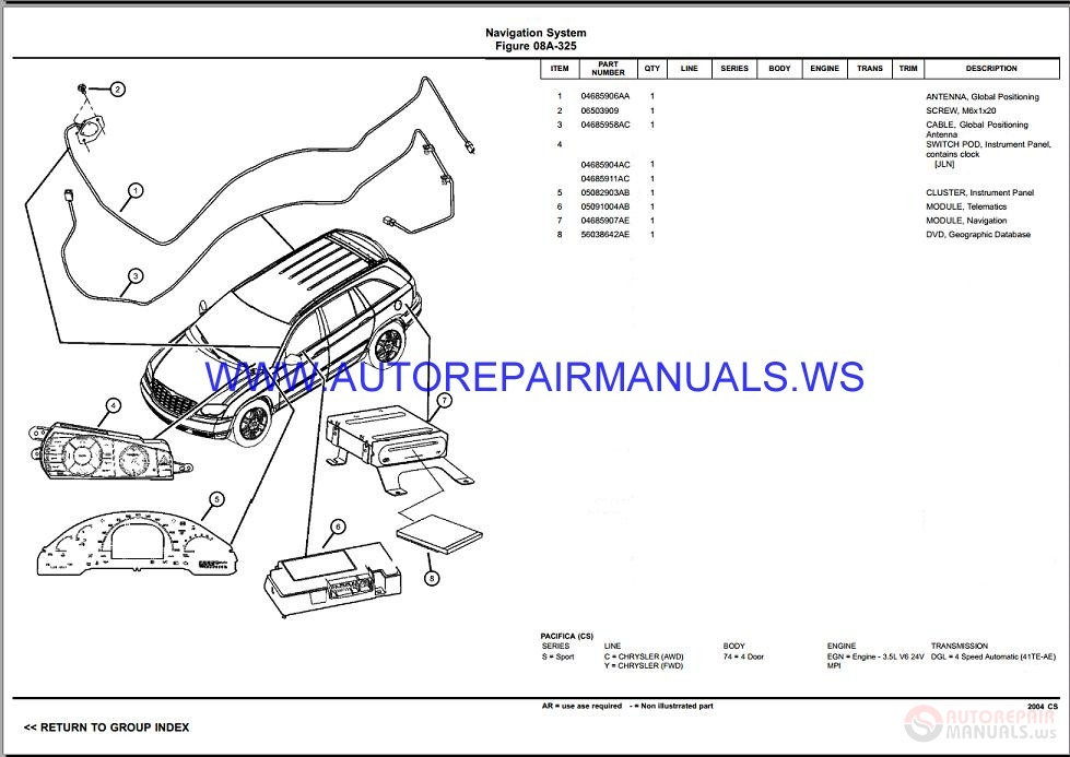 Chrysler Dodge PACIFICA CS Parts Catalog (Part 2) 2004