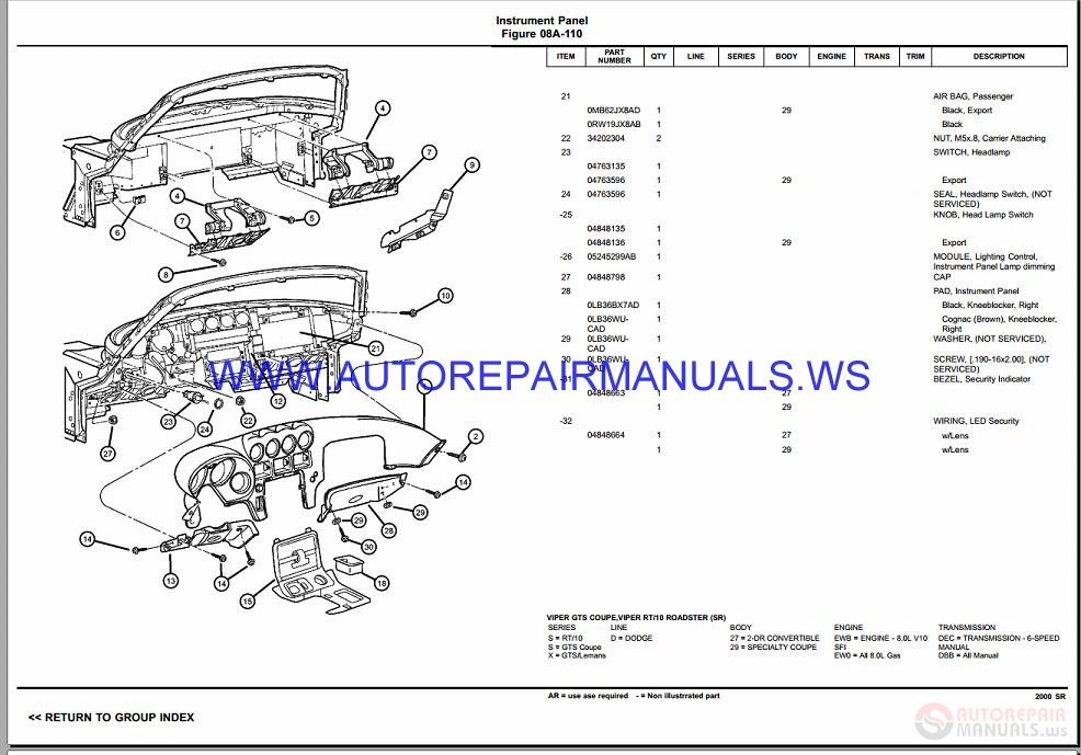 Chrysler Dodge VIPER SR Parts Catalog (Part 2) 2000-2001