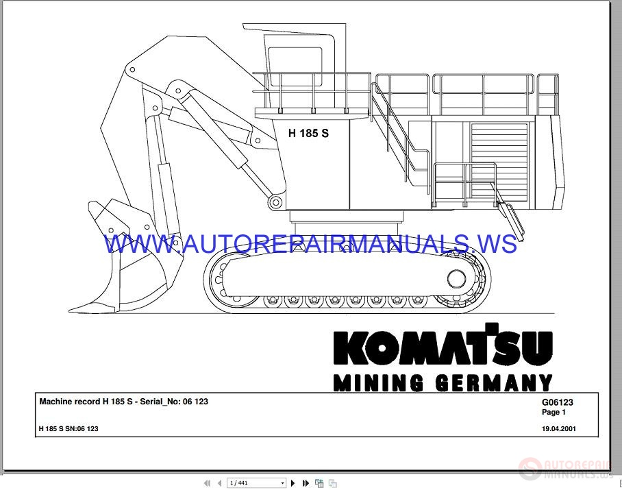 Komatsu H185S Mining Germary Workshop Manual SN06123