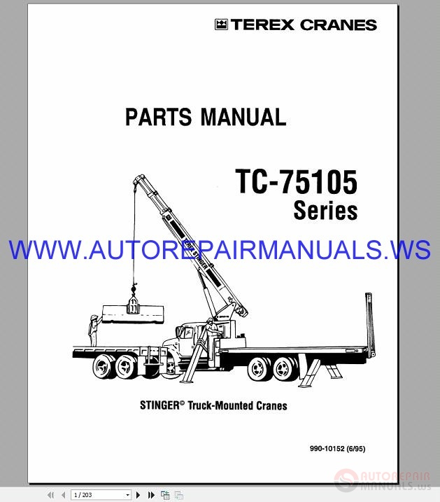 Terex TC 75105 Truck Cranes Series Parts Manual 1995