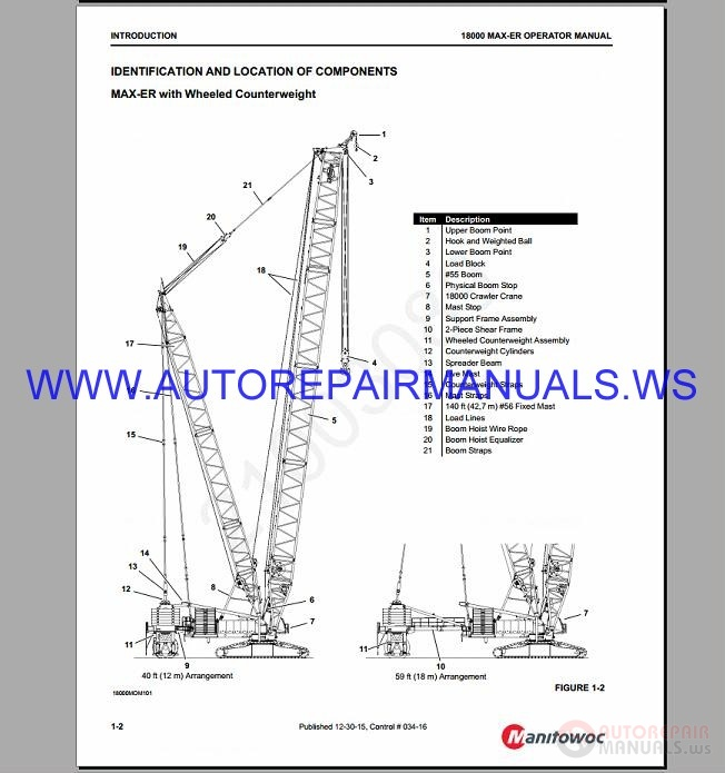 Manitowoc 18000 Crawler Crane Service & Parts Manual 2003