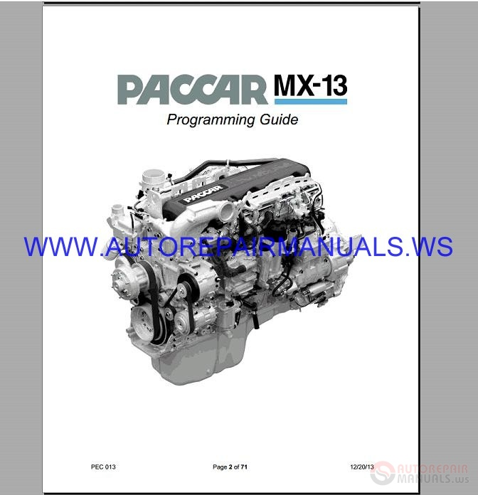 PACCAR MX13-PX8 Engine Programming Operator's Manual 2010