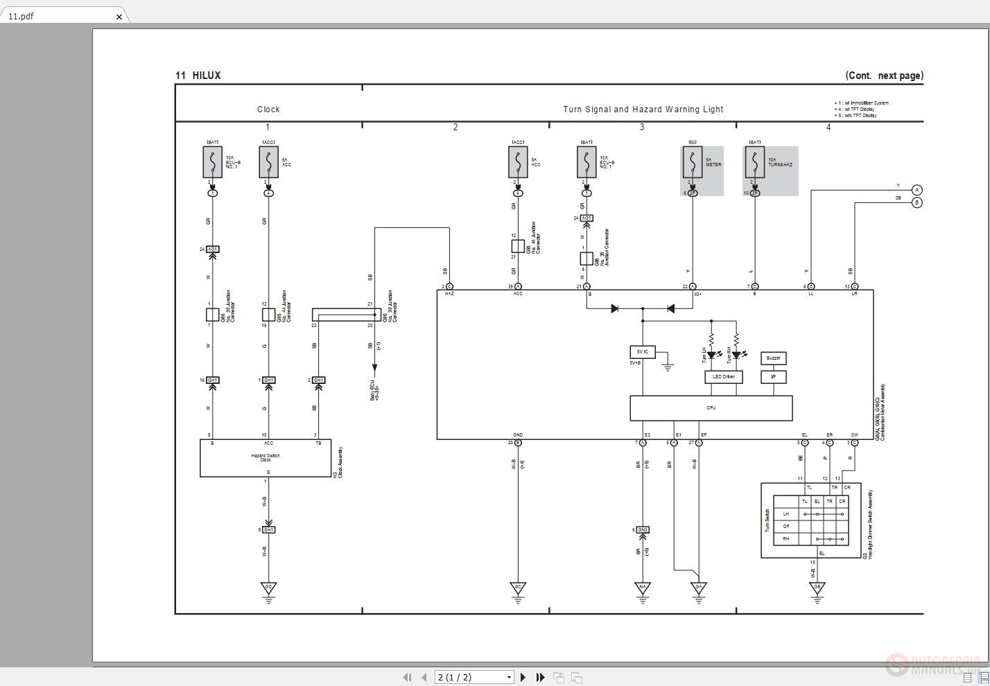 hight resolution of toyota hilux 2016 2019 electrical wiring diagram