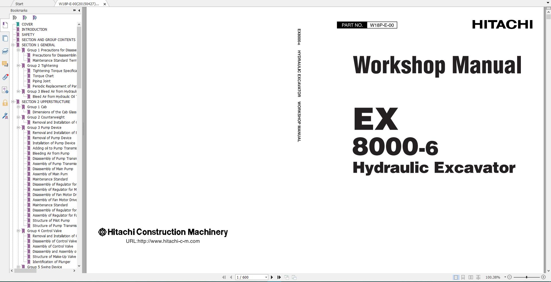 Hitachi Mining Crawler Excavator EX Full Workshop Manual